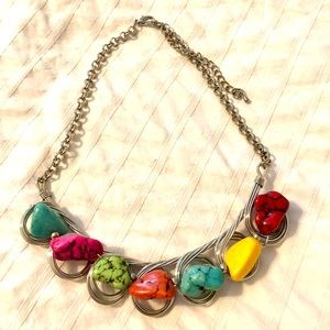 Silver rainbow costume necklace